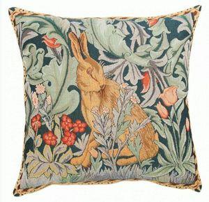 Art De Lys - lapin inspiration william morris - Square Cushion