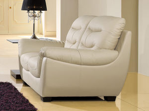 WHITE LABEL - canapé cuir 2 places coral - 2 Seater Sofa