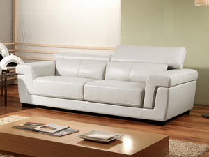 WHITE LABEL - canapé cuir 3 places evasion - 3 Seater Sofa