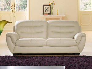 WHITE LABEL - canapé cuir 3 places coral - 3 Seater Sofa