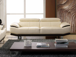 WHITE LABEL - canapé cuir 3 places osmoz - 3 Seater Sofa