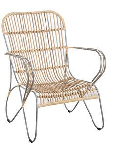 Aubry-Gaspard - fauteuil en métal et rotin naturel - Armchair