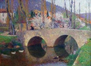 ANDERSON GALLERIES - le pont a labastide du vert au printemps - Oil On Canvas And Oil On Panel