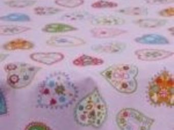 TISSUSDESLUNES - coeurs - Children's Furniture Fabric