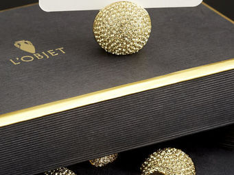 L'OBJET - pave sphere gold place card holder - Table Place Card