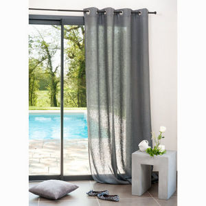 Maisons du monde - rideau lin lourd anthracite - Eyelet Curtain