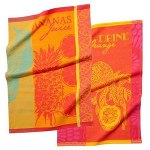 Maisons du monde - assortiment de 2 torchons orange ananas - Tea Towel