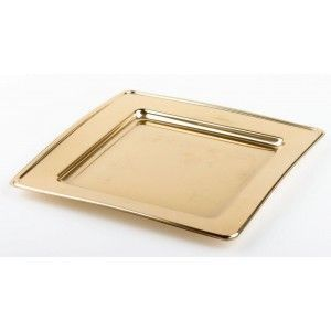 Adiserve - assiette carrée or 18 ou 24 cm par 6 dimension 24  - Disposable Dish