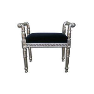 DECO PRIVE - bout de lit baroque argent et velours noir - Bed Bench