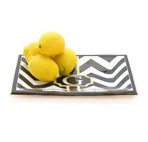JILL ROSENWALD - buckley chevron sm. mono tray - Serving Tray