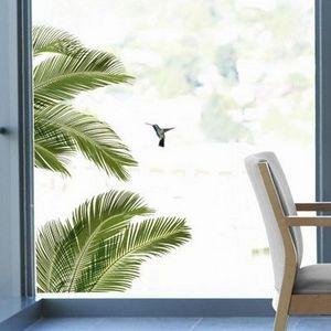 Nouvelles Images - sticker déco vitrage palme et oiseau - Sticker