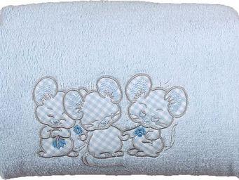 SIRETEX - SENSEI - carré de bain 100x100cm éponge brodée 3 souris ble - Children's Bath Towel