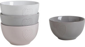 Aubry-Gaspard - 4 bols coeur en grès coloris assortis 14x7.5cm - Bowl