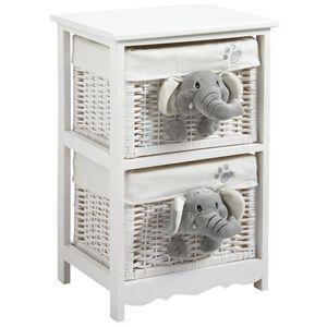Aubry-Gaspard - commode 2 tiroirs éléphants en bois et osier - Children's Drawer Chest