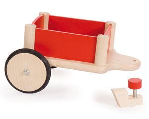 JASPER TOYS - remorque rouge à monter en hêtre massif verni - Wheelbarrow