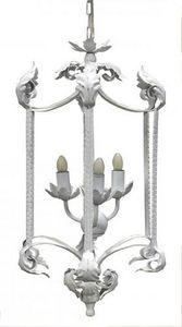 Demeure et Jardin - lanterne fer forgé feuille d'acanthes blanche - Outdoor Hanging Lamp