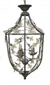 Demeure et Jardin - lanterne fer forgé feuillages gris clair - Outdoor Hanging Lamp