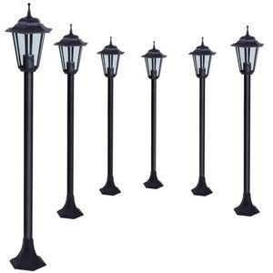 WHITE LABEL - 6 lampadaires jardin éclairage extérieur - Garden Lamp