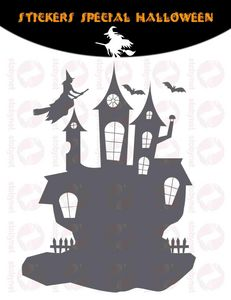WHITE LABEL - sticker château hanté sorcières - Sticker