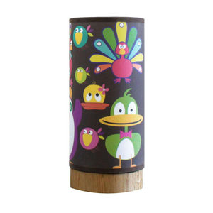 BLUMEN - lumpi keedz - lampe de chevet chêne/lin motifs can - Children's Table Lamp