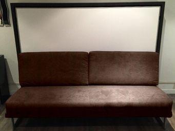 WHITE LABEL - armoire lit transversale magic canapé intégré micr - Fold Away Bed