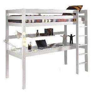 WHITE LABEL - lit bureau mezzanine pino en pin vernis blanc - Mezzanine Bed