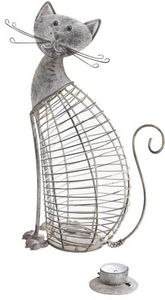 Aubry-Gaspard - photophore métal chat - Outdoor Candle Holder