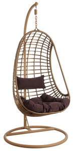 Aubry-Gaspard - balancelle sur pied en polyrésine brune - Swinging Chair