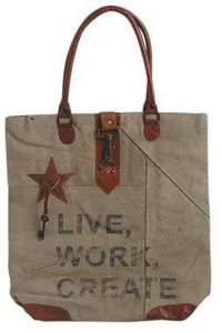 Aubry-Gaspard - sac vintage en coton recyclé et cuir modèle 3 - Shopping Bag