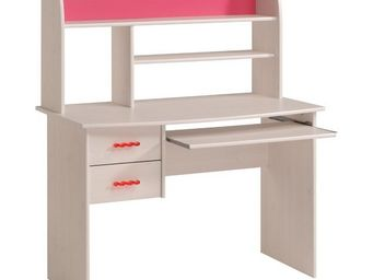 WHITE LABEL - bureau 2 tiroirs blanc/rose - lola - l 109 x l 59 - Children's Armchair