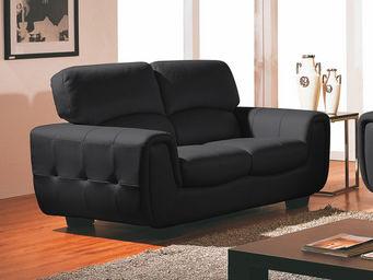 WHITE LABEL - canapé cuir 2 places eden - 2 Seater Sofa