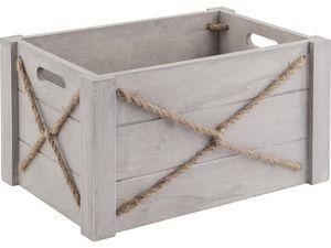 Aubry-Gaspard - caisse en bois patiné et corde (lot de 3) - Storage Box