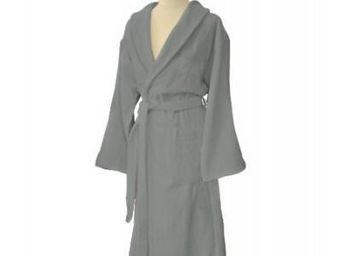 Liou - peignoir de bain gris velours - Bathrobe