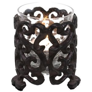 CHEMIN DE CAMPAGNE - photophore bougeoir de table en fonte - Candle Jar