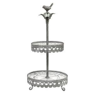 CHEMIN DE CAMPAGNE - plateau serviteur à etages en fer et verre 52 cm - Tiered Tray