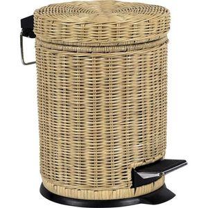 Aubry-Gaspard - poubelle salle de bain rotin et métal 5 litres - Bathroom Dustbin