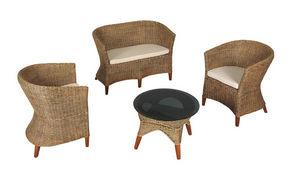 Aubry-Gaspard - salon 4 pièces en moelle de rotin et acajou - Garden Furniture Set