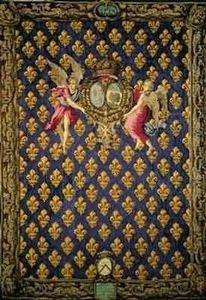 Motifs Licorne - portière fleur de lys - Classical Tapestry
