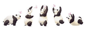 DECOLOOPIO - les 5 pandas - Children's Decorative Sticker