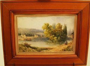 Art & Antiques - tableau saint germain en laye animée 1860 signé - Landscape Painting