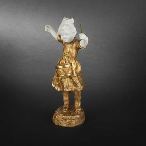 Expertissim - bailly g.o. petite fille au tambour, chryséléphant - Chryselephantine