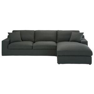 MAISONS DU MONDE - canapé angle 5 places fixe coton gris ardoise stua - Corner Sofa