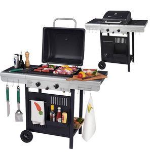 WILSA GARDEN - barbecue à gaz 2 feux grill et plancha 112x53x94cm - Gas Fired Barbecue
