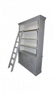 Demeure et Jardin - bibliothèque patine grise intérieure blanche avec  - Open Bookcase