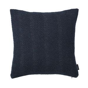 LOUISE ROE COPENHAGEN - 100% baby alpaca cushion herringbone dark blue - Square Cushion