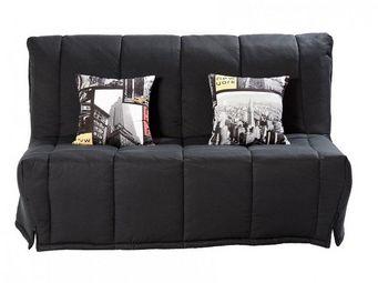 WHITE LABEL - canapé bz convertible lou noir 40*200cm matelas co - Reclining Sofa