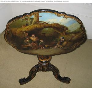 CALTON GALLERY - a painted table depicting a highland family at the - Leaf Table