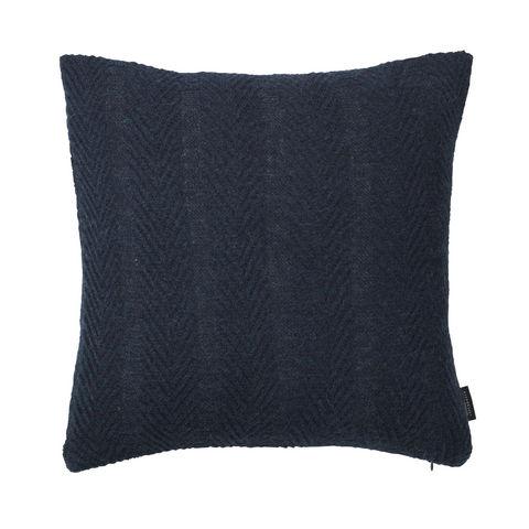 LOUISE ROE COPENHAGEN - Square Cushion-LOUISE ROE COPENHAGEN-100% Baby Alpaca Cushion Herringbone Dark Blue