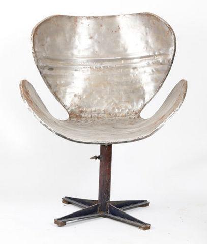 PO! PARIS - Swivel armchair-PO! PARIS-Fauteuil en métal de récupération