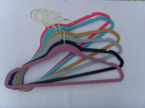 LEDO HANGER - Coat Hanger-LEDO HANGER-flocked plastic hanger with curve